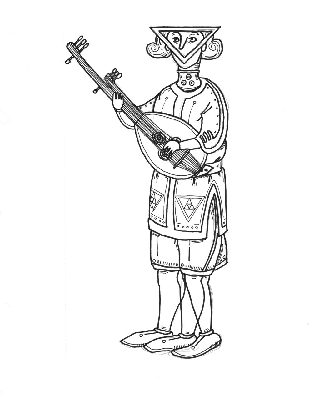 Artist's Representation of a Quatrian Funerary Urn Depicting a Sacred Triangulon Musician